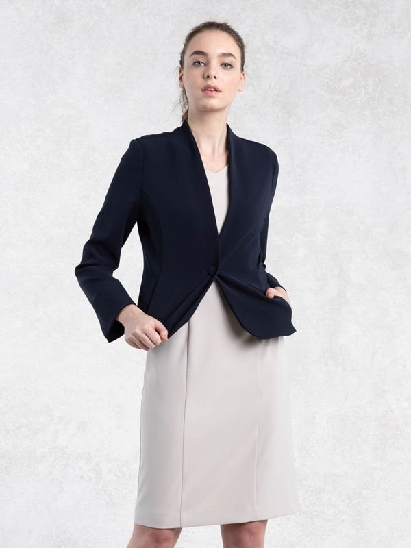 Navy Collarless Jacket