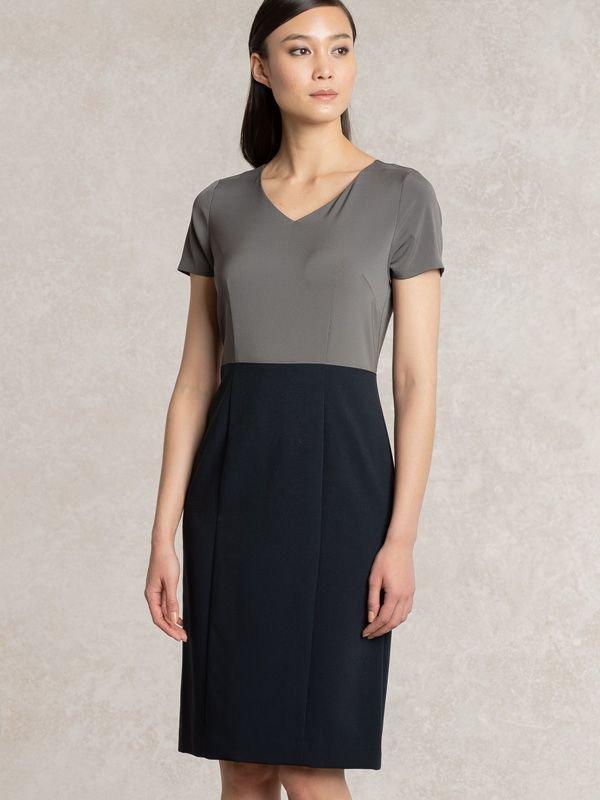 Charcoal x Navy V-neck I-line Docking Dress