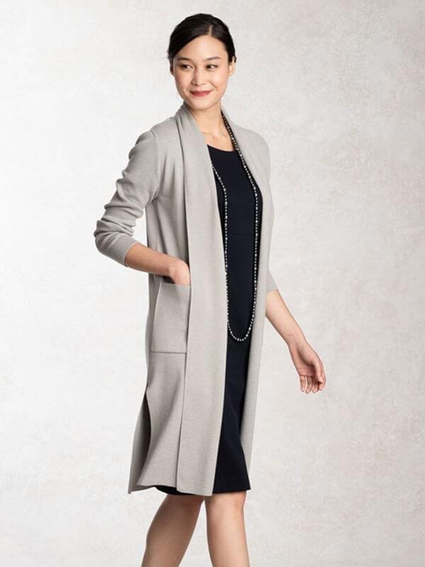 Snow Gray Kanazawa Side-slit Cardigan