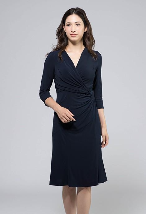 ネイビー七分袖 ギャザードレス